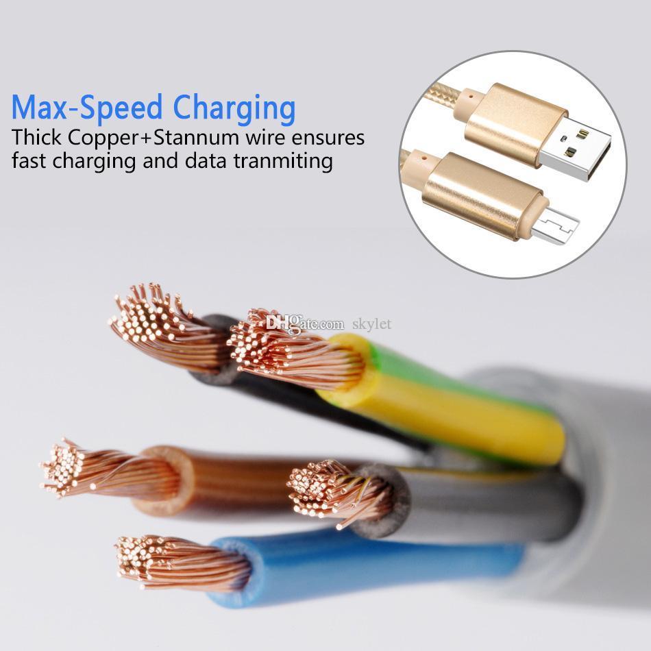 Haute vitesse USB Type de câble C à C Adaptateur de charge Data Sync métal chargeur de téléphone Adaptateur 0.48mm forte épaisseur C Chargeur USB Tressé