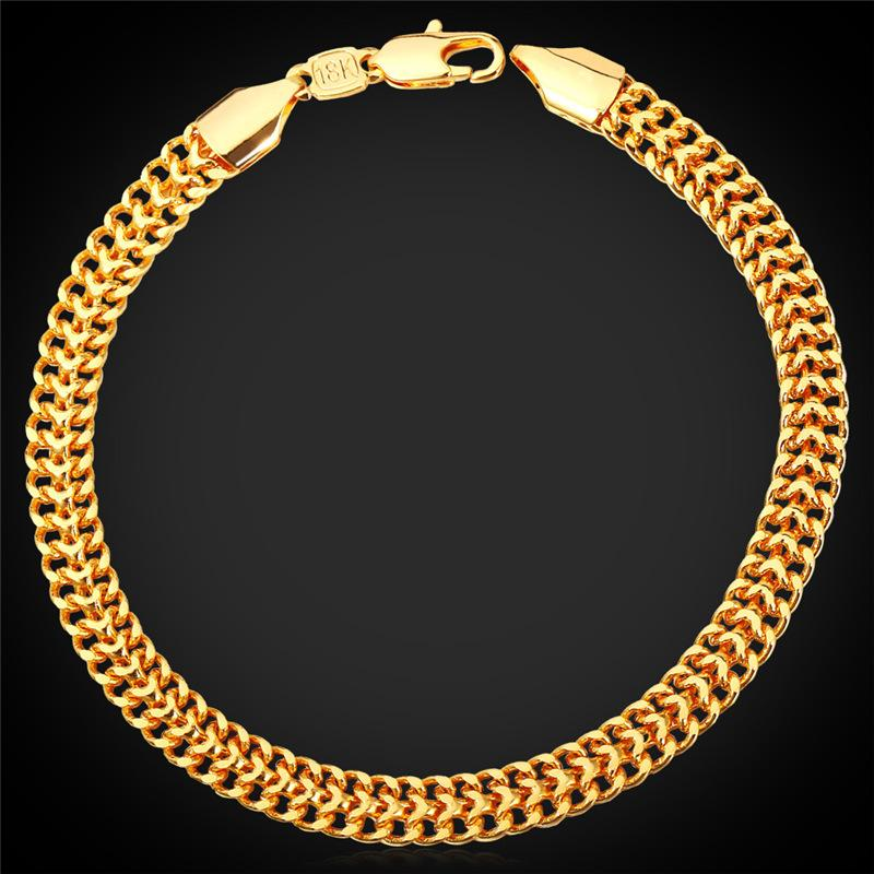 Men\'s 18K Stamp Gold Chain for Men Jewelry Fancy Bracelet Design ...