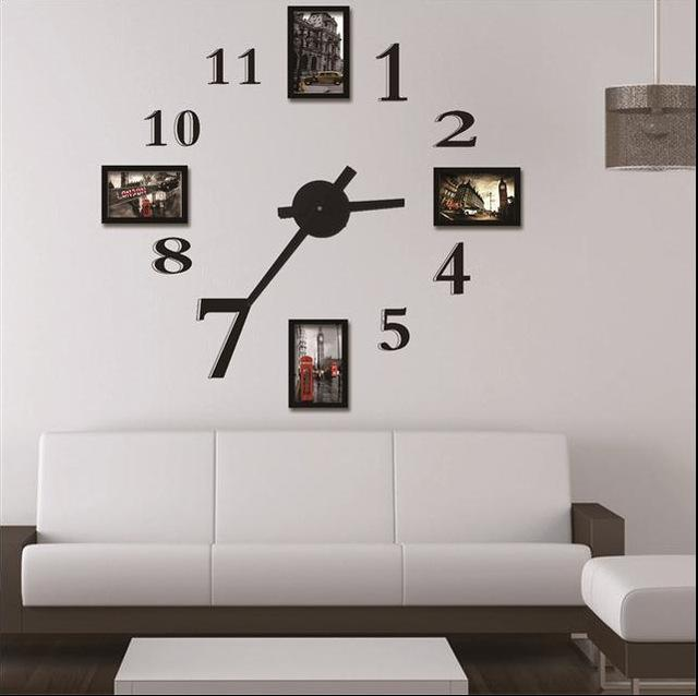 Photo Frame Wall Clock Modern Design,Large Digital Decorative Wall ...