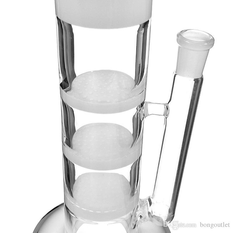 Konvexes Design Hüttenglasbong Geradsitz- drei honneycomb Recycler Glas Wasserrohr 15 inches 14mm Innenverbindungs