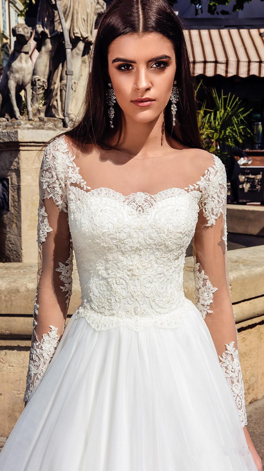 2019 neue elegante Sheer Ansatz Spitze Brautkleider mit langen Ärmeln Applikationen Tüll Brautkleider A-Linie Hochzeit Brautkleid vestidos de novia