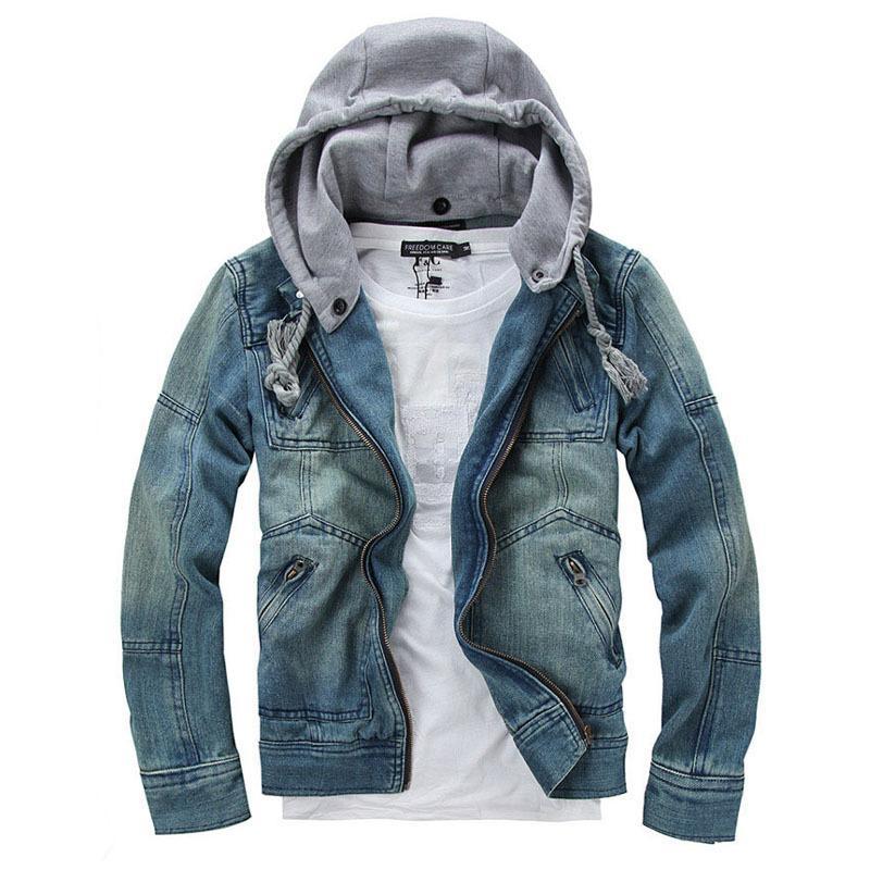 Removable Hat Jeans Jacket Male Jean Denim Jacket Fashion Hooded ...