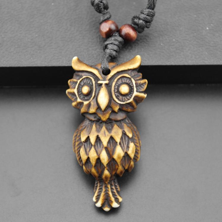 Bijoux En Gros / Tribal Style Imitation Yak Os Sculpté Brun Hibou Pendentifs Collier pour hommes femmes cadeau