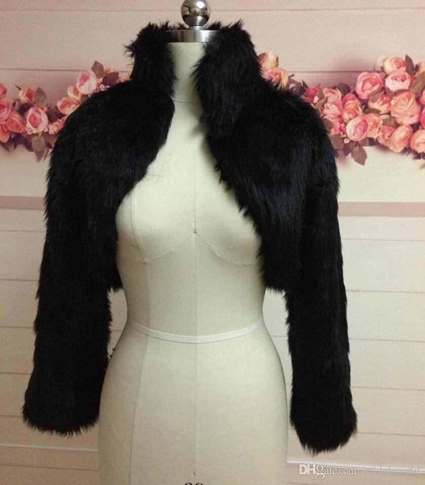Fashion Black Faux Fur Coat Bridal Wrap Long Sleeve Jacket Shawl Cape Stole Bolero Ivory Fake Fur Bridesmaids Cape