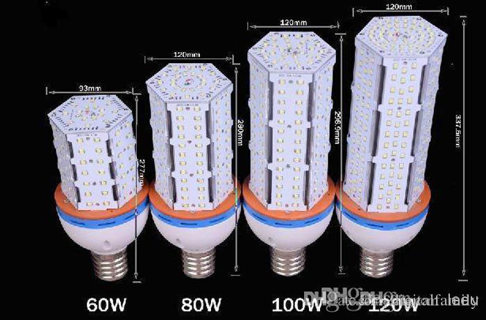 Süper Parlak Led mısır ampul E27 E40 B22 60 W 80 W 100 W 120 W Led Mısır Işık 360 Açı SMD 2835 DHL Tarafından Streetlight 100-300 V Için Led lamba aydınlatma