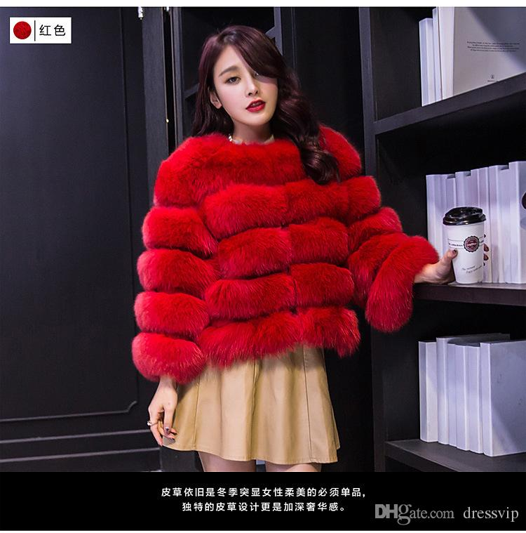 Pink Winter Fox Fur Coat Jacket Petite Ladies Fur Peacoat Outwear Round Neck Long Sleeve Parka Coats Short Trench Coats Warm Outwear