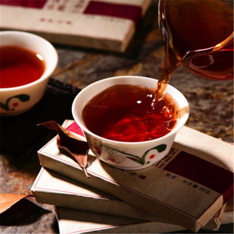 80g Olgun Puer Çay Tuğla Kahverengi Dağ Wuzi Sarayı Siyah Puerh Çay Organik Doğal Puer Eski Ağacı Puer Sıcak satış Pişmiş