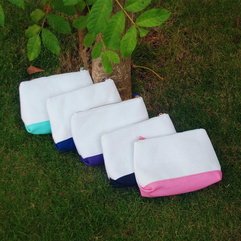 Wholesale Blanks Women Canvas Makeup Bag Triangle Cosmetic Bag Five Different Beautiful Colors canvas famale cosmetic bag DOM103157