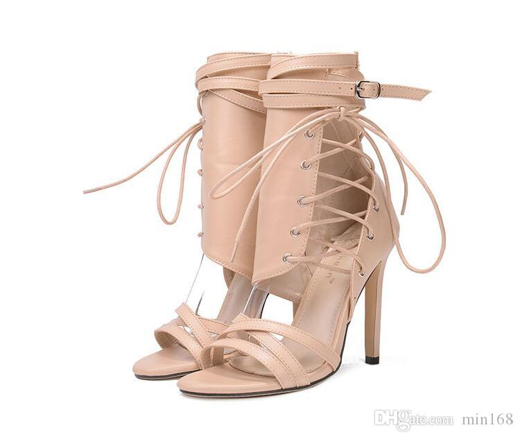 2018 spring and spring High heels Belt buckle Belt Buckle Ankle Boots Roman boots Fashion sexy Women boots