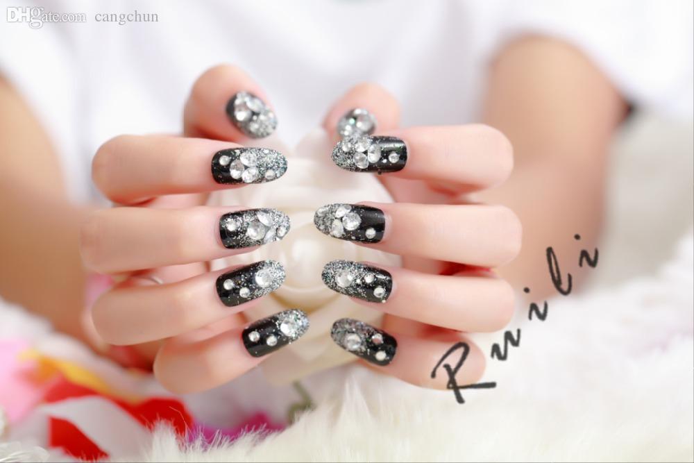 Wholesale 2015 New Black Diamond Fake Nails Full Acrylic Nail Tips ...