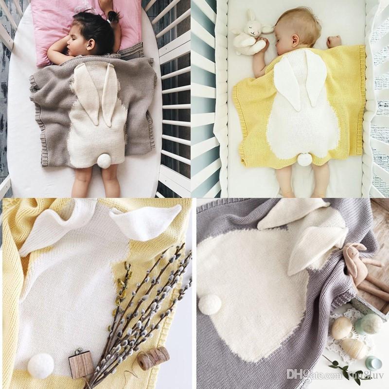 Compre Bebé Edredón Orejas De Conejito Muselina Muselina Crochet ...