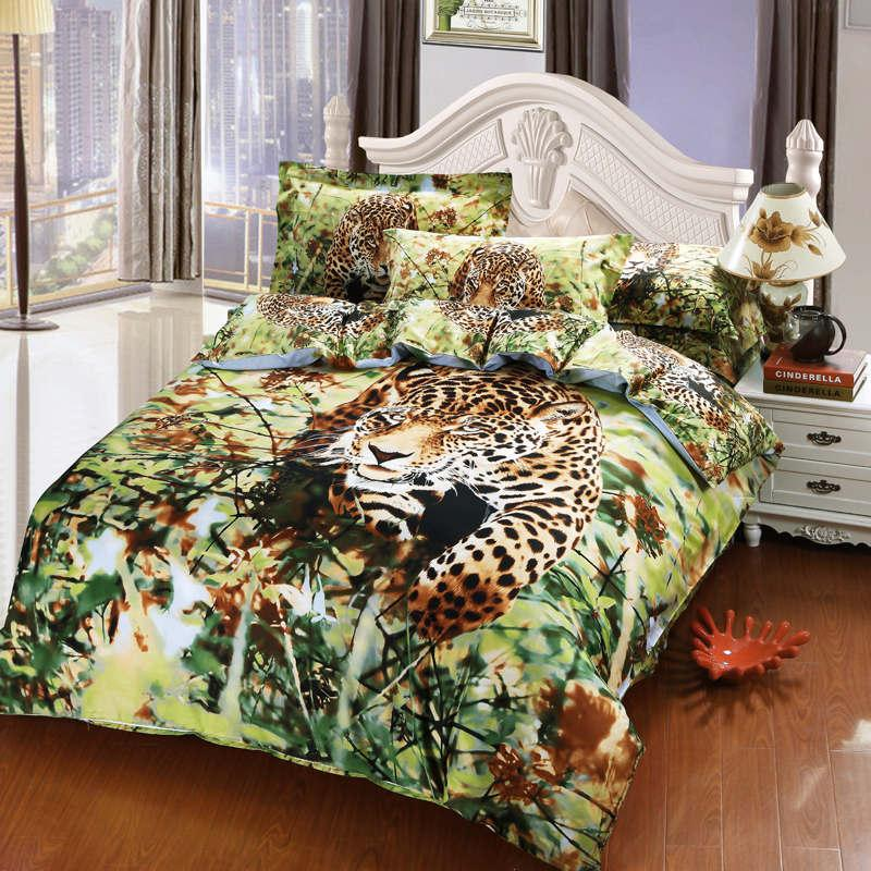 Manly Leopard Oil Painting Bedding Bedspreads For Full/Queen Beds ...