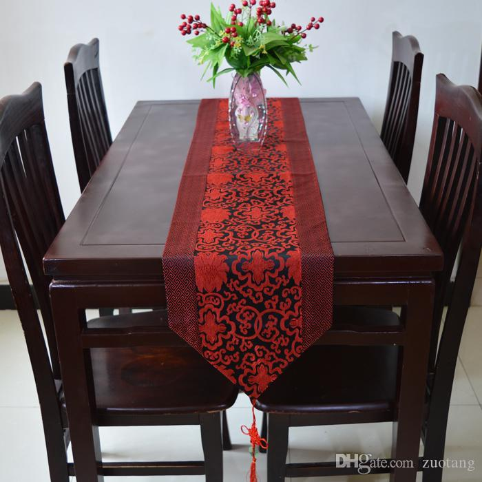 Chinese knot Patchwork Cheap Damask Table Runners Dining Table Mat Classic Flower Silk Table Cloth Runner Chinese Tablecloths for Weddings