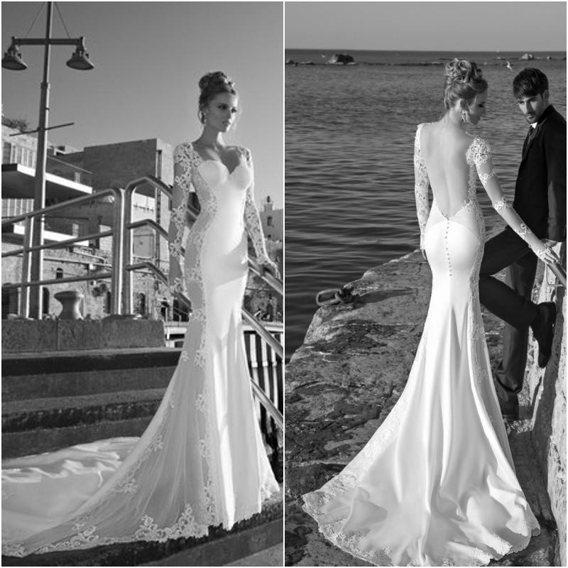 New Arrival Sweetheart Fit Flare Mermaid Wedding Dress Sheer Long Sleeves  Lace Sexy Backless Bridal Wedding Gown Beach Wedding Dress Wedding Dress  Designer ... aa8ddf58a