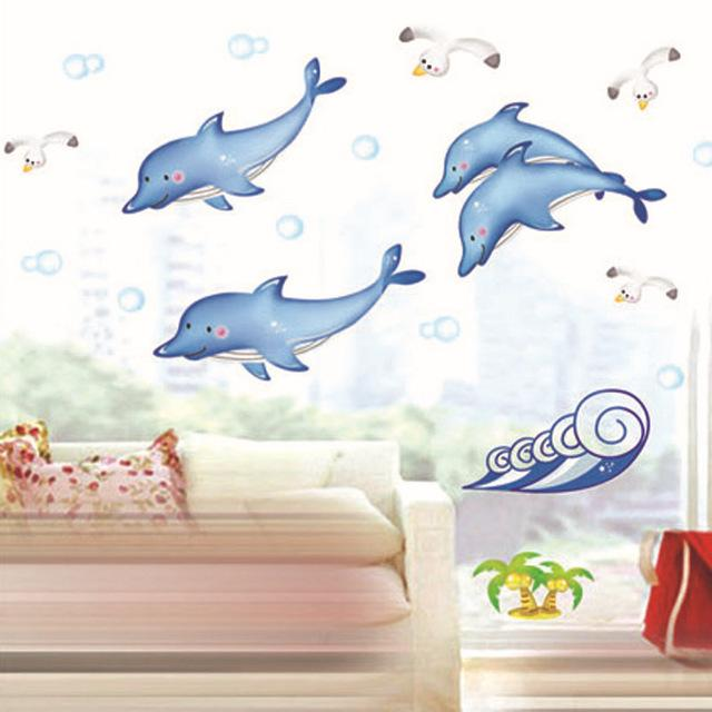 Factory Wholesale Mixed Order Popular Cartoon Ocean Cute Fish Dolphin Wall  Sticker Removable DIY Kids Room 50x70CM 20 Pcs/lot Part 55