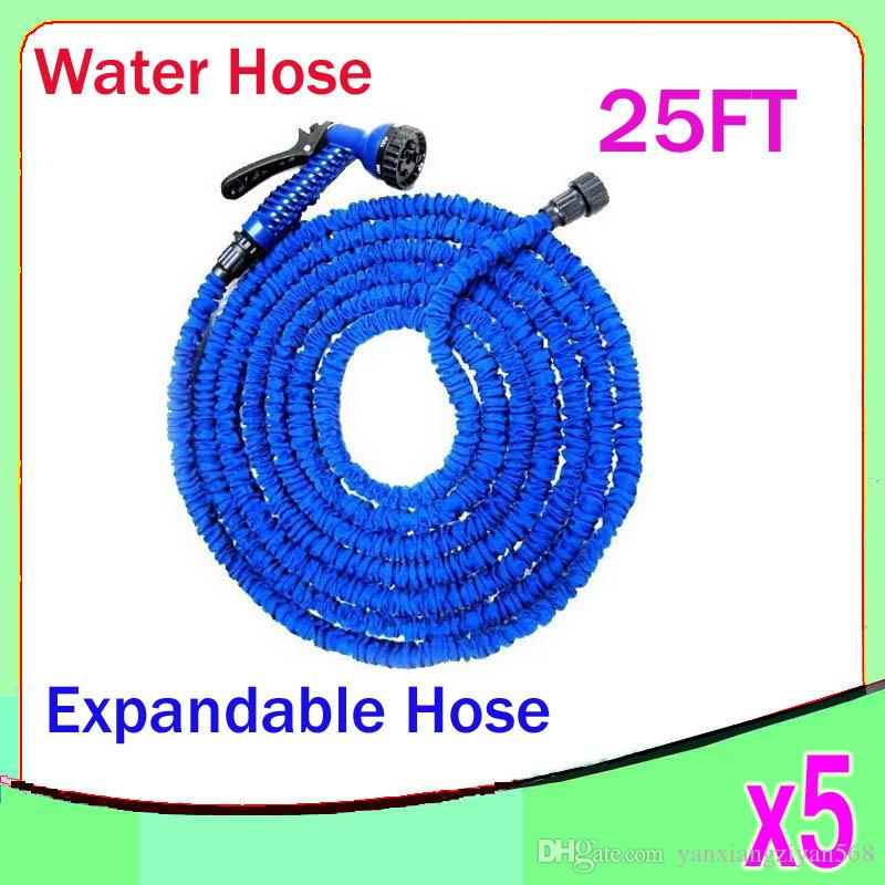 New Expandable & Flexible Plastic Hose Water Garden Pipe With Spray Nozzle For Car Wash Pet Bath Original 25FT 5pcs ZY-SG-04