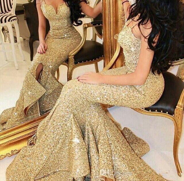 2019 Gold Sequins Mermaid Evening Dresses Charming Sexy Spaghetti Strap Backless Split Side Arabic Dubai Long Prom Celebrity Dress