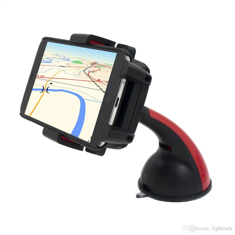 Universal car stick long mount holder stand clip for iphone smart phones gps red magnet car cd slot sucker cell phone holder