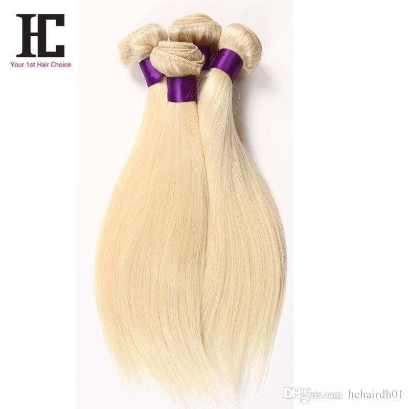 613 Rubio Virgen del pelo brasileña virginal recto de la armadura del cabello humano barato Pelo rubio armadura brasileña Bundles HC Productos