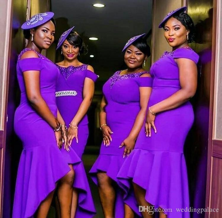 Modern Purple Plus Size Bridesmaid Dresses High Low Scoop Neck WITHOUT SASH 2018 African Wedding Guest Dress Gowns for Maid of Honor