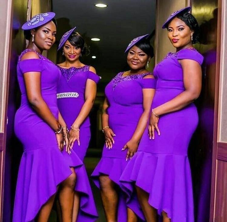 Moderno viola Plus Size abiti da damigella d'onore High Low Scoop Neck SENZA 2018 African African Guest Guest Abiti la damigella d'onore