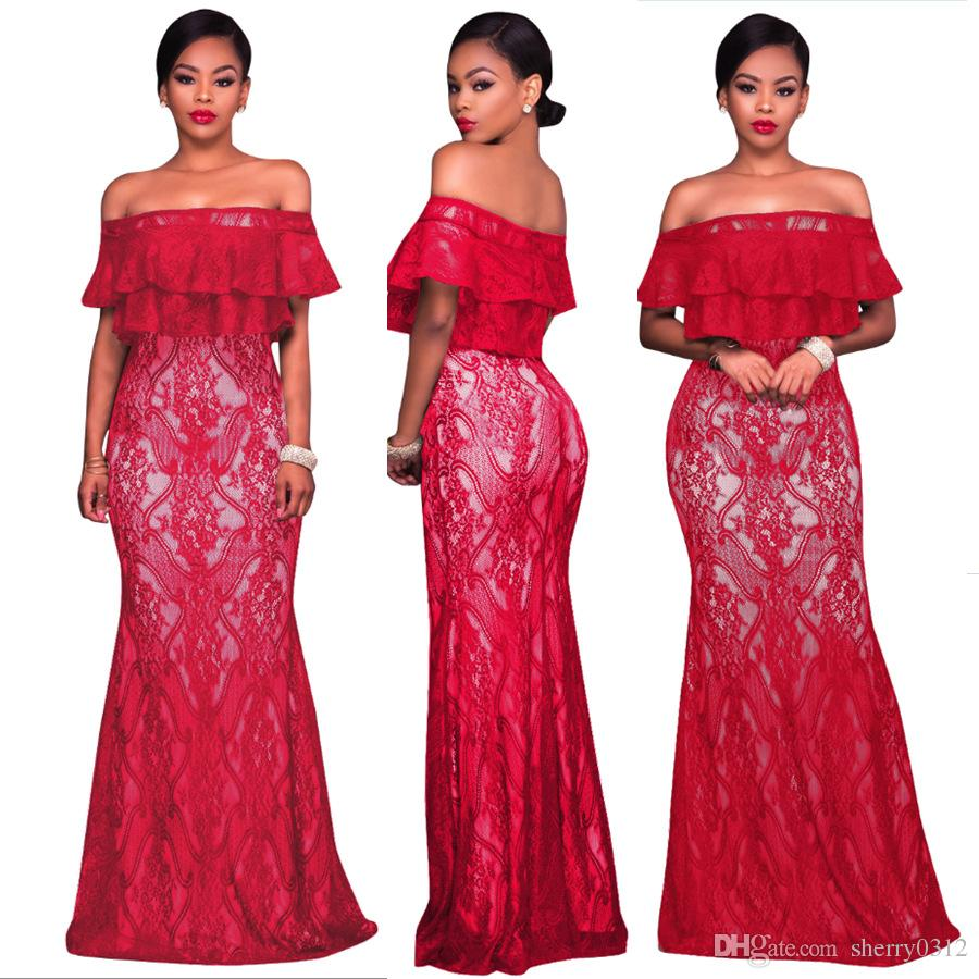 Elegant Long Evening Party Dresses Women Double Layer Ruffle Off ...