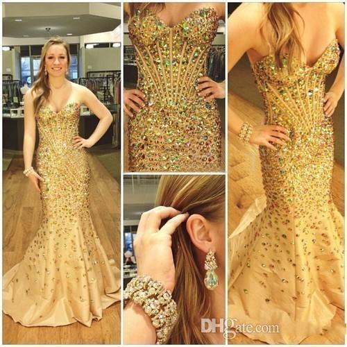 2016 Sexy Evening Dresses Wear Sweetheart Crystal Major Beading Gold Mermaid Taffeta Long Cheap Formal Vestidos Cheap Prom Party Gowns