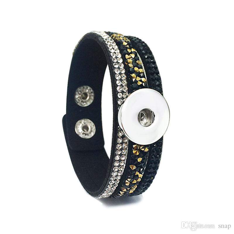 Rock style 226 Korean velvet Rhinestone Retro fashion Charm Link Bracelet Snap Button Jewelry For Women Men fit 18mm button