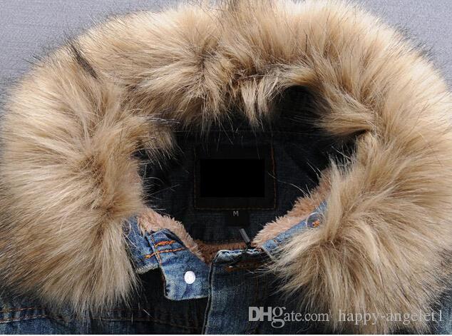 NUEVO Mens invierno cálido cuello de piel forro de piel chaqueta de mezclilla tamaño de la chaqueta S-XXXL