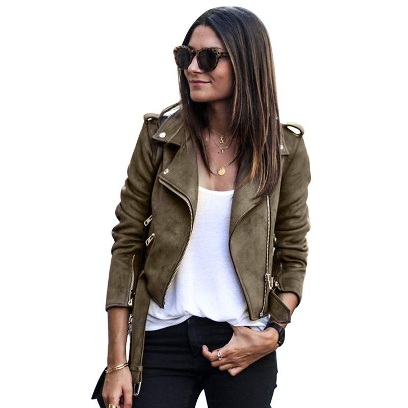 Wholesale Slim Short Jacket Women Long Sleeve Coat Casual Suede