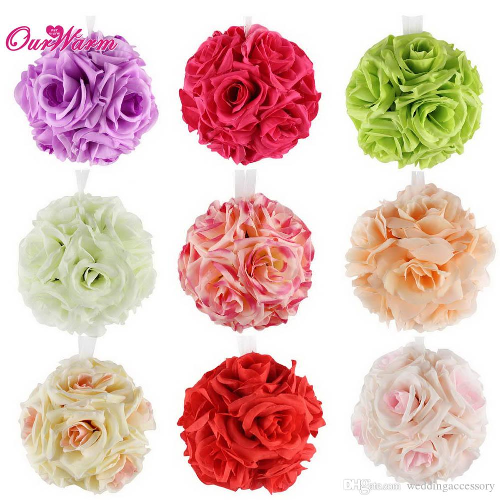 Many Colors Becautiful Artificial Silk Flower Rose Balls Wedding ...