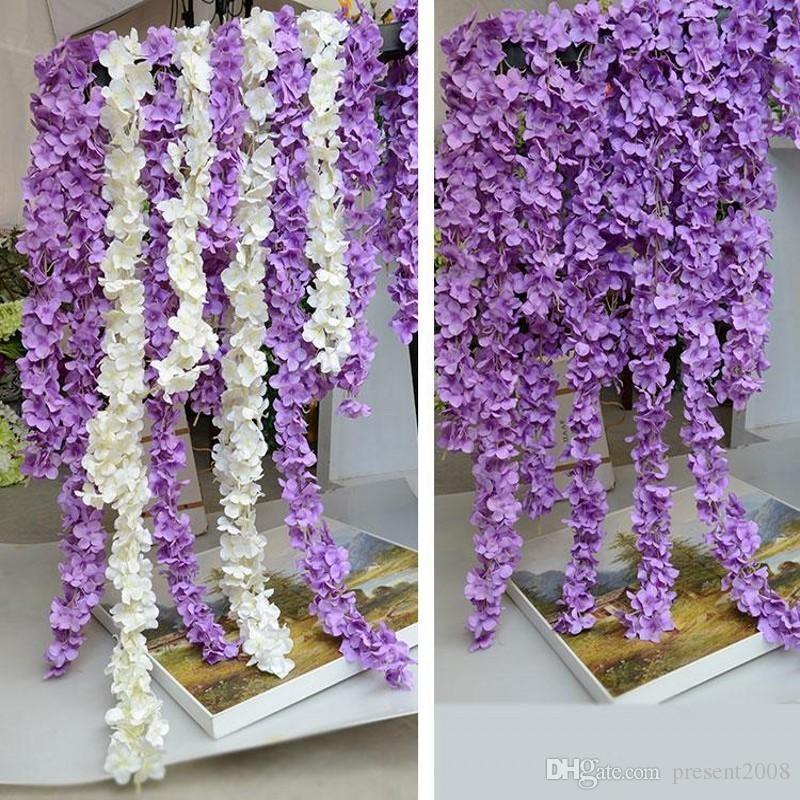 2017 زهرة هيدرانجيا ويستريا الاصطناعية Die Simulation Wedding Arch Door Home Wall Hanging Garland For Wedding Garden Decoration