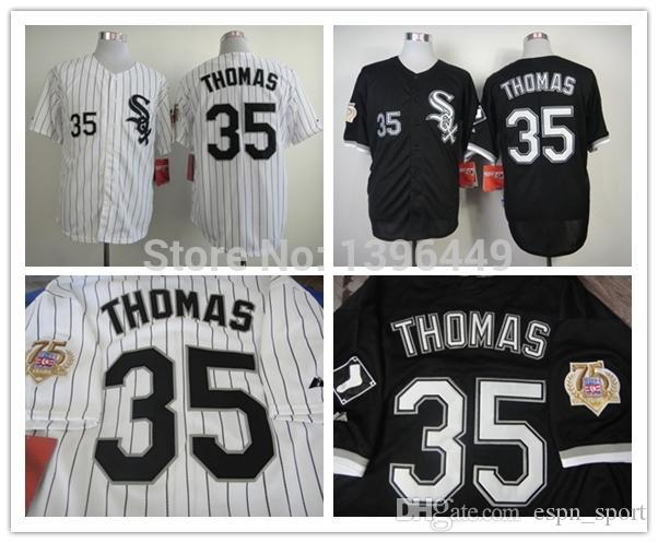 b924d3473 ... chicago white sox 35 frank thomas black 75th patch jersey ... frank  thomas jersey with 2005 world series ...