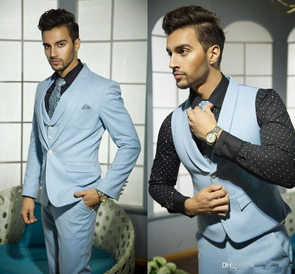 Mens Wedding Suits Handsome Formal Suits For Men Blue Vest Grooms ...
