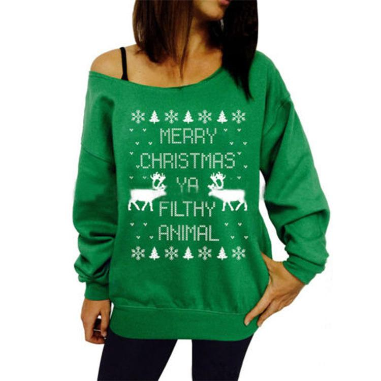 c2f7fb009 2019 Womens Ladies Letter Animal Print Shirts Hoodies Sweater Sweatshirt  Off Shoulder Pullover Christmas Party Tops Blouse From Mizon888, $27.41 |  DHgate.