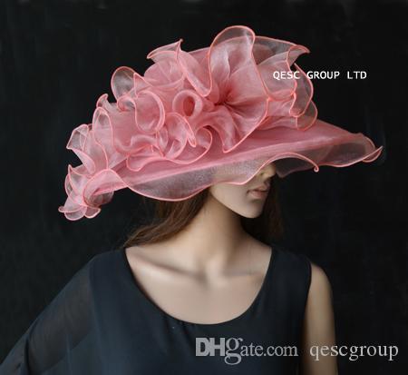 Sombrero de organza Heather Crystal con adorno de organza grande para party.brim ancho 13.5cm.