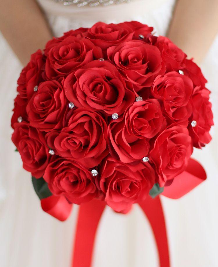 Jane Vini 2018 Red Wedding Flowers Bouquets For Bride With Crystal Bridal Bridesmaid Wedding Brooch Handmade Bouquet De Mariage Arcificiel