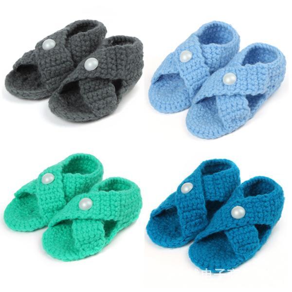 Handmade Baby Sandals Woolen Yarn Crochet Baby Pearl Candy Color Sandals Newborn Soft Sole Baby Toddlers shoes Newborn Prewalker #0074