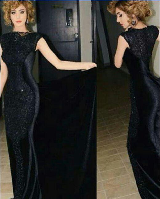 Black Evening Dresses 2015 Vestidos De Noche Mermaid Cap Sleeve ...