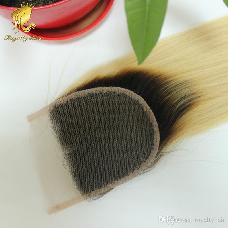Ombre Color 4x4inch 3 parte chiusura pizzo capelli umani mongolo dritto chiusura bionda # 1b / 613 con i capelli del bambino