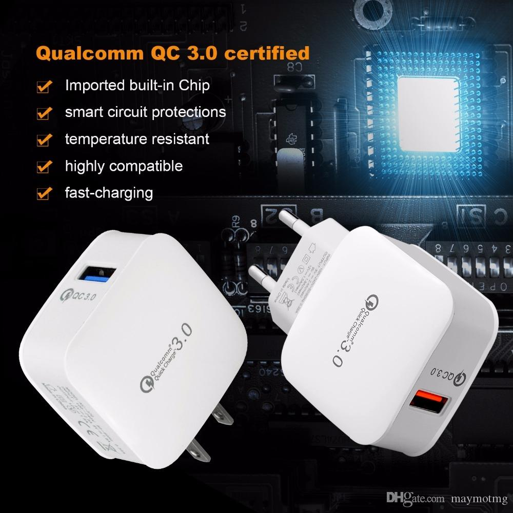white color Quick charge 3.0 for iphone wall charger android mobile phone fast USB Travel adapter ipad US EU cellphone plug QC2.0