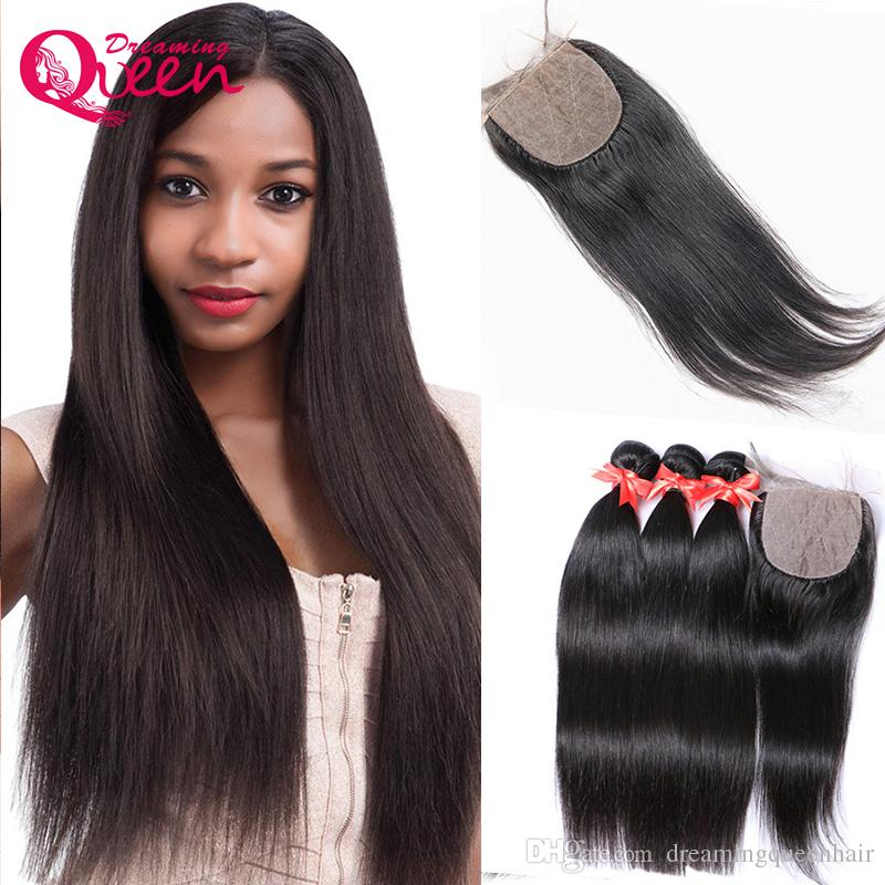 Straight Hair Unprocessed 100% India Virgin Human Hair Extensions 3 Bundles With Silk Base Lace Closure Natural Hairline