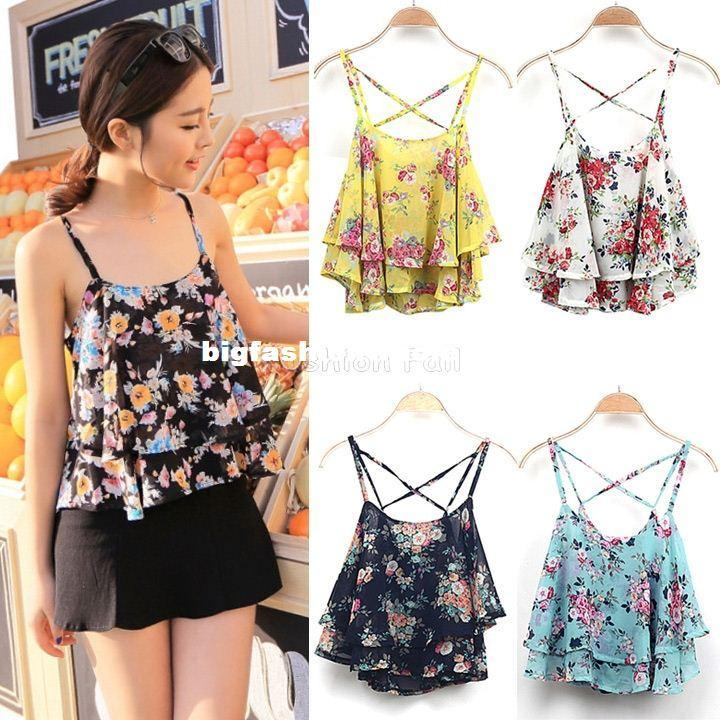 9415899e99f 2019 2015 New Women Summer Tops Ladies Spaghetti Strap Blouse Sleeveless  Flower Floral Print Chiffon Top For Female Women Blouse BK58 From ...