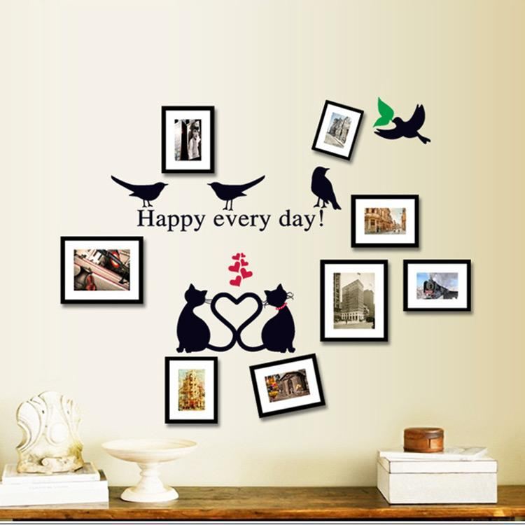 Picture Frame Wall Decals new romantic cartoon pvc bird lovely cat heart wall stickers photo