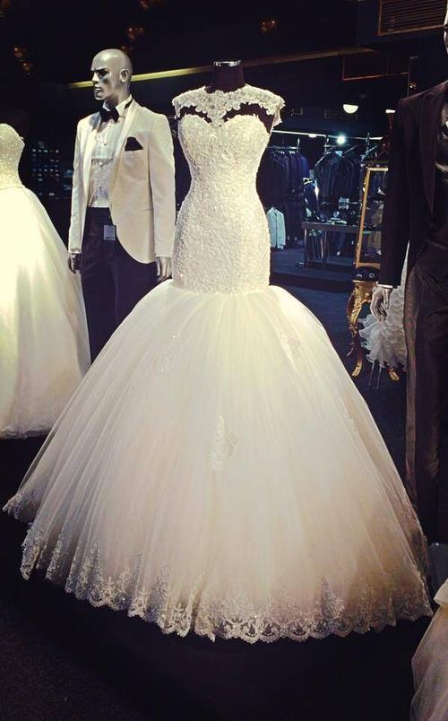 Vintage Lace High Neck Mermaid Wedding Dresses Gowns Custom Size ...