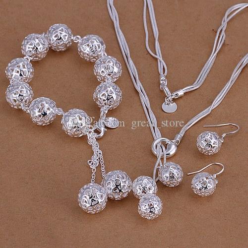 El popular conjunto de joyas de plata 925 57g se ajusta a las mujeres GS-68, el pendiente plateado de plata 925 de la pulsera del collar de la alta calidad, venta al por menor al por mayor