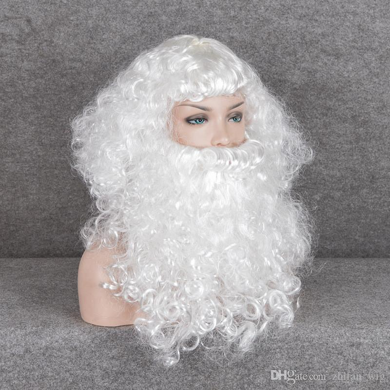 Z&F 35CM Long Christmas Santa Claus Wigs With Beard Xmas Mustache Accessory Kit White For Kids Or Adults