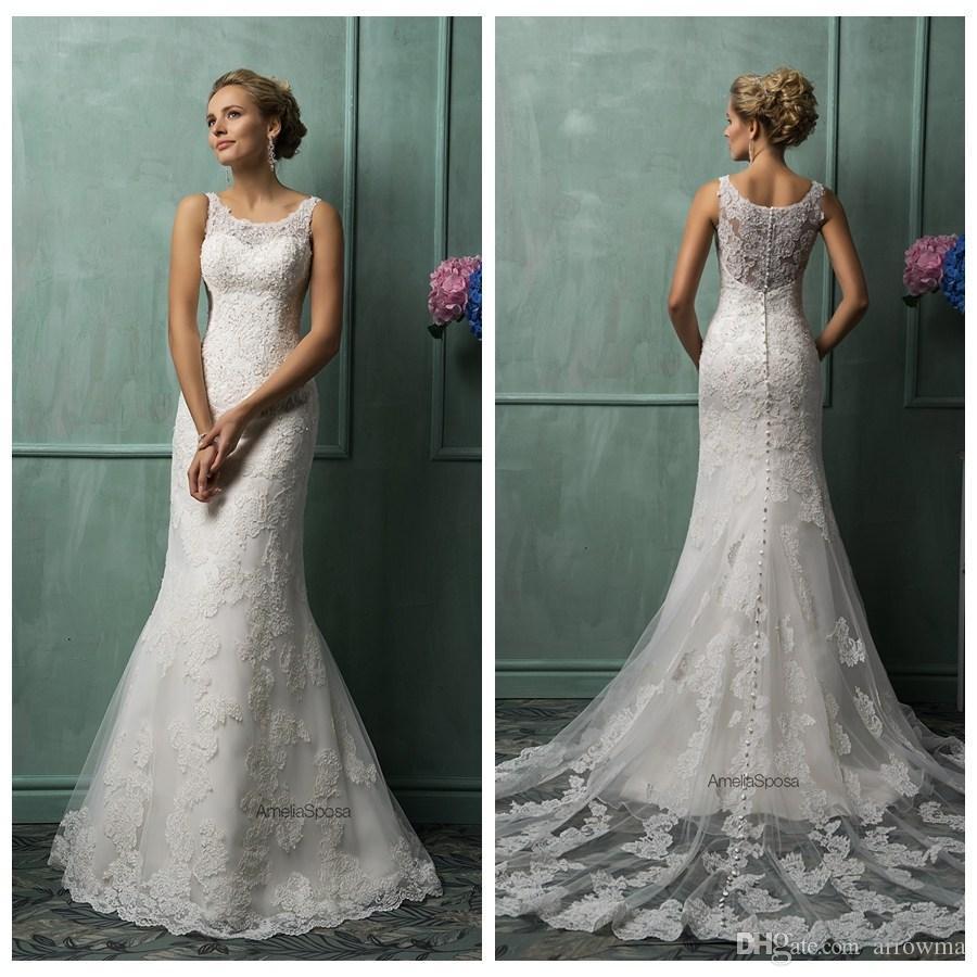 Ivory Lace Sheath Wedding Dresses 2015 Sheer Scoop Straps Sleeveless