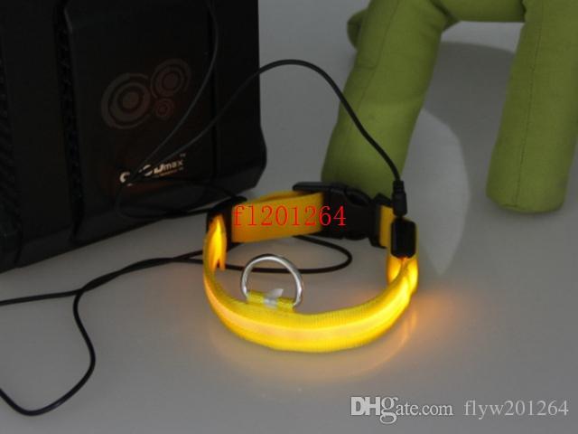 送料無料USBペット犬の襟は、USBの充電LEDカラー/ロットが付いているペットの襟の素敵なペット屋外の発光を導きました