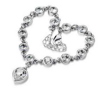 Beste Lackingone Womens Jewelry Love Crystal Strass Kette Armband Silber / Gold plattiert Liebe Herz Kette Armreifen Armband Jewellry 6 Farben